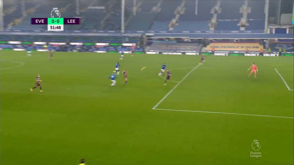 Everton vs Leeds error Meslier James Rodríguez