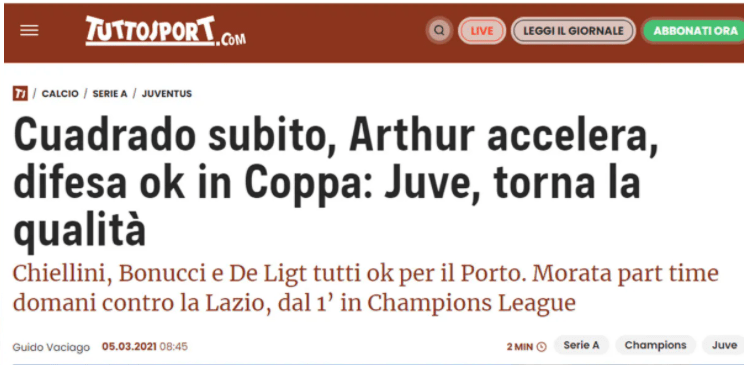 Juan Guillermo Cuadrado noticia prensa italiana Juventus