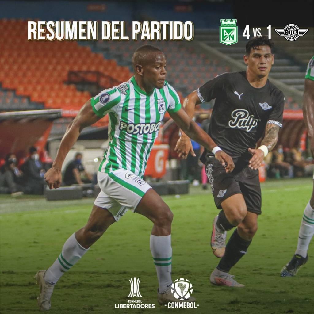 Atlético Nacional goles partido Libertd Copa Libertadores