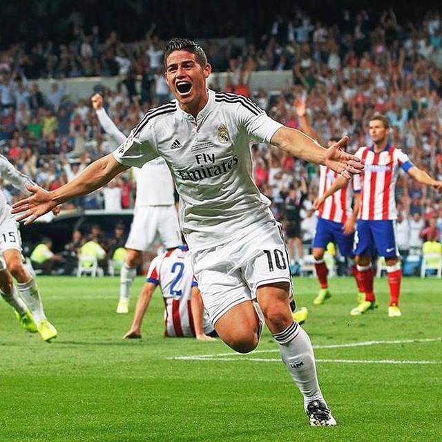 James Rodríguez celebra su primer gol con el Real Madrid ante el Atlético de Madrid en 2014