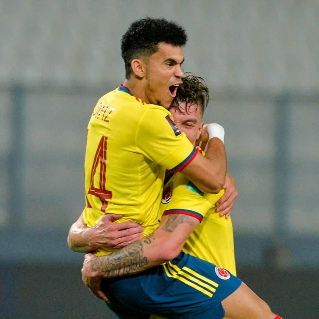 Luis Díaz celebra gol de la Selección Colombia frente a Perú por las eliminatorias a Qatar 2022
