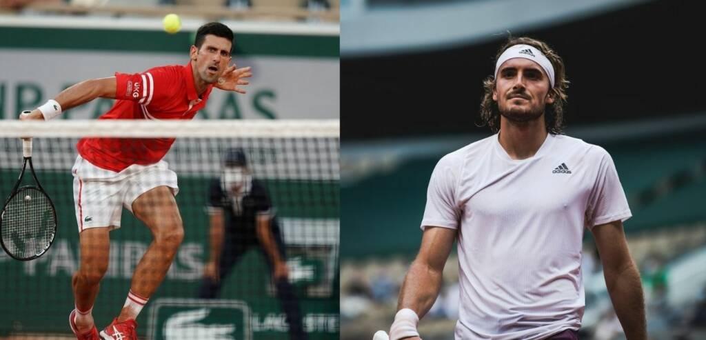 Novak Djokovic y Stefanos Tsitsipas en el Roland Garros 2021