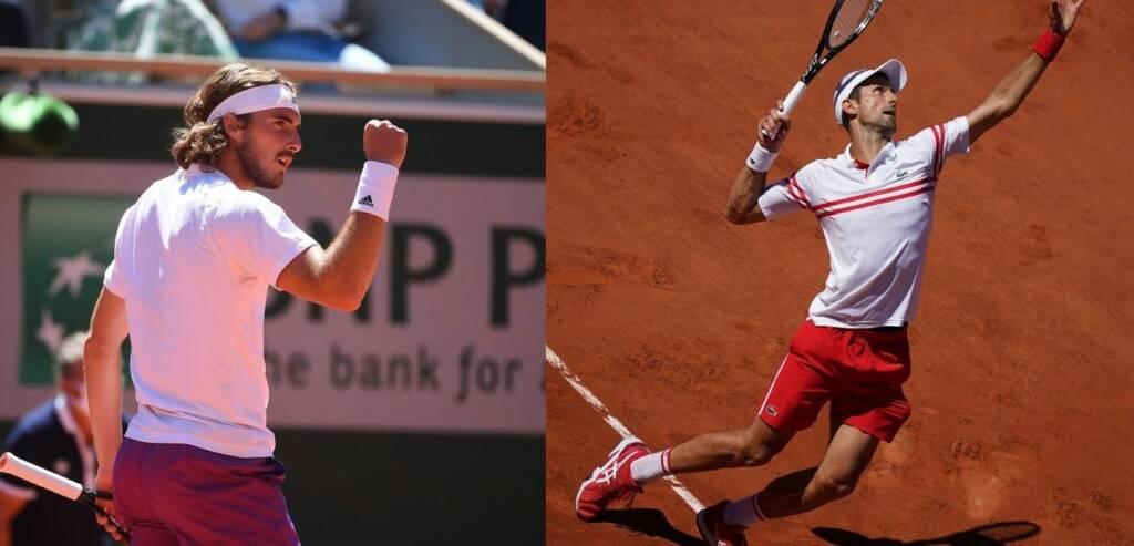 Stéfanos Tsitsipás y Novak Djokovic durante la final del Roland Garros 2021