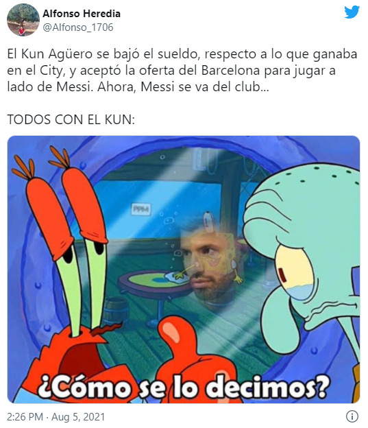 Kun Agüero Lionel Messi memes salida Barcelona
